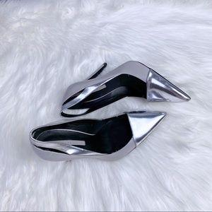 ZARA Woman Silver & Gray Classic Pointy Heels 37